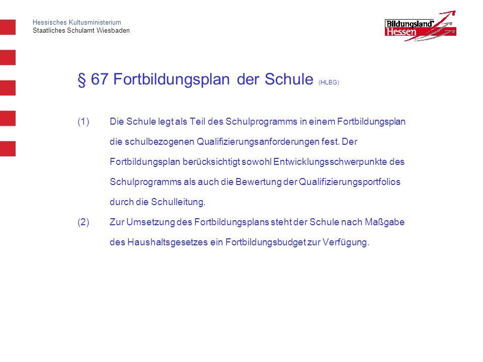 Hessisches Kultusministerium Staatliches Schulamt Wiesbaden § 67 Fortbildungsplan der Schule (HLBG) (1)Die Schule legt als Teil des Schulprogramms in