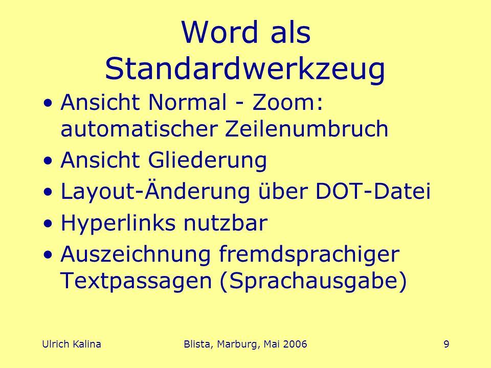 Ulrich KalinaBlista, Marburg, Mai 20069 Word als Standardwerkzeug Ansicht Normal - Zoom: automatischer Zeilenumbruch Ansicht Gliederung Layout-Änderun