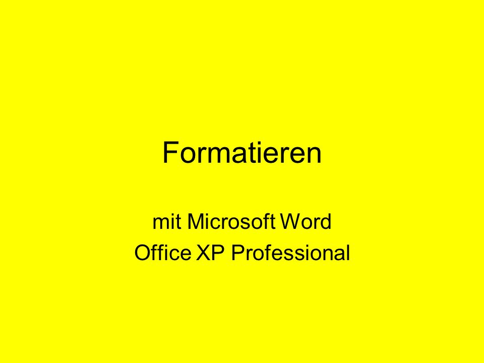 Formatieren mit Microsoft Word Office XP Professional