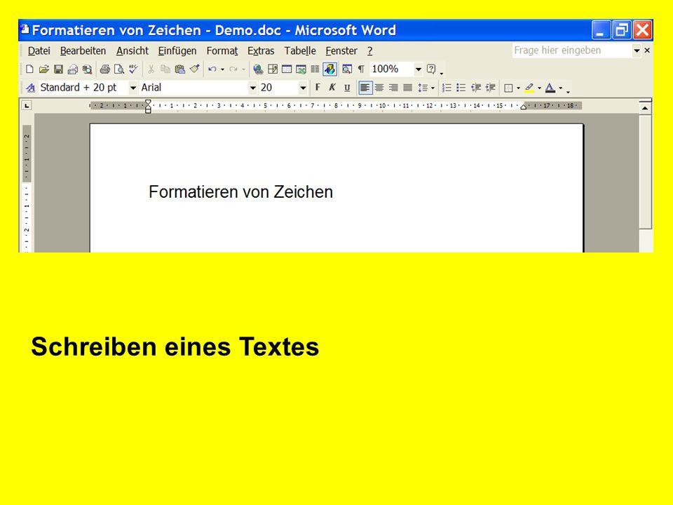 Markieren eines Textes mit der Tastatur (UMSCHALTTASTE + RICHTUNGSTASTE) mit der Maus (ziehen über den zu markierenden Text mit gehaltener linker Maustaste)
