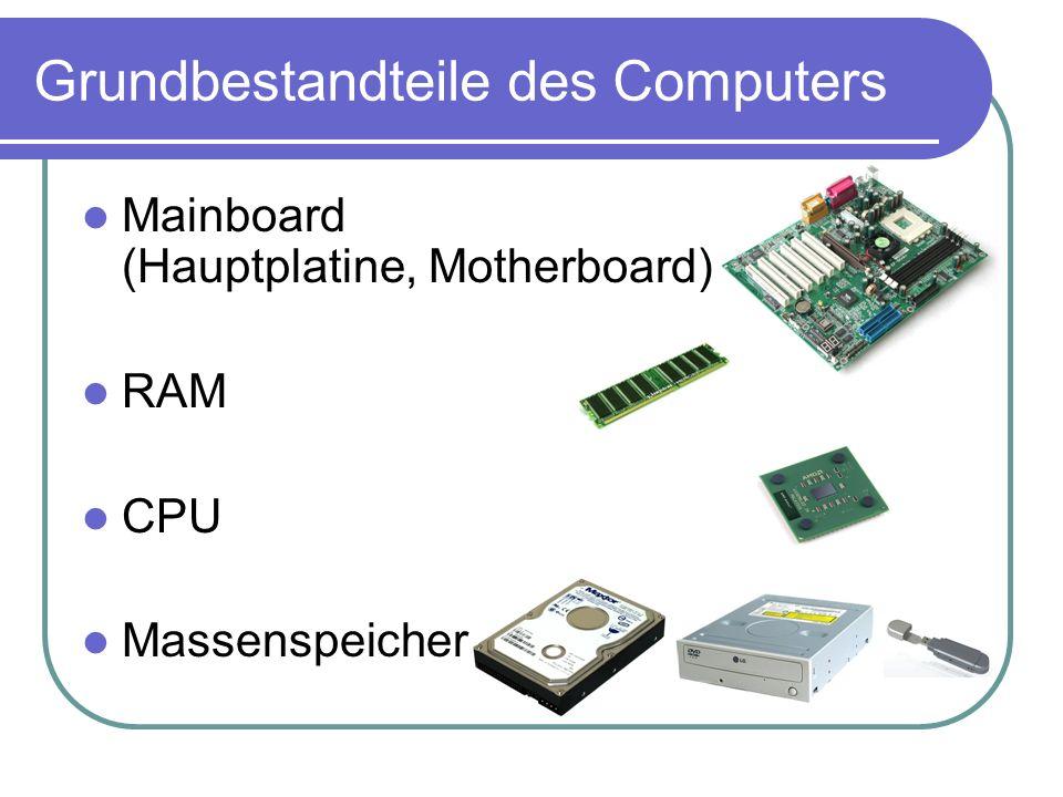 Grundbestandteile des Computers Mainboard (Hauptplatine, Motherboard) RAM CPU Massenspeicher