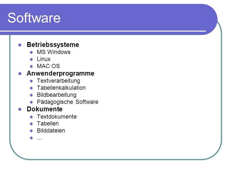 Software Betriebssysteme MS Windows Linux MAC OS Anwenderprogramme Textverarbeitung Tabellenkalkulation Bildbearbeitung Pädagogische Software Dokument