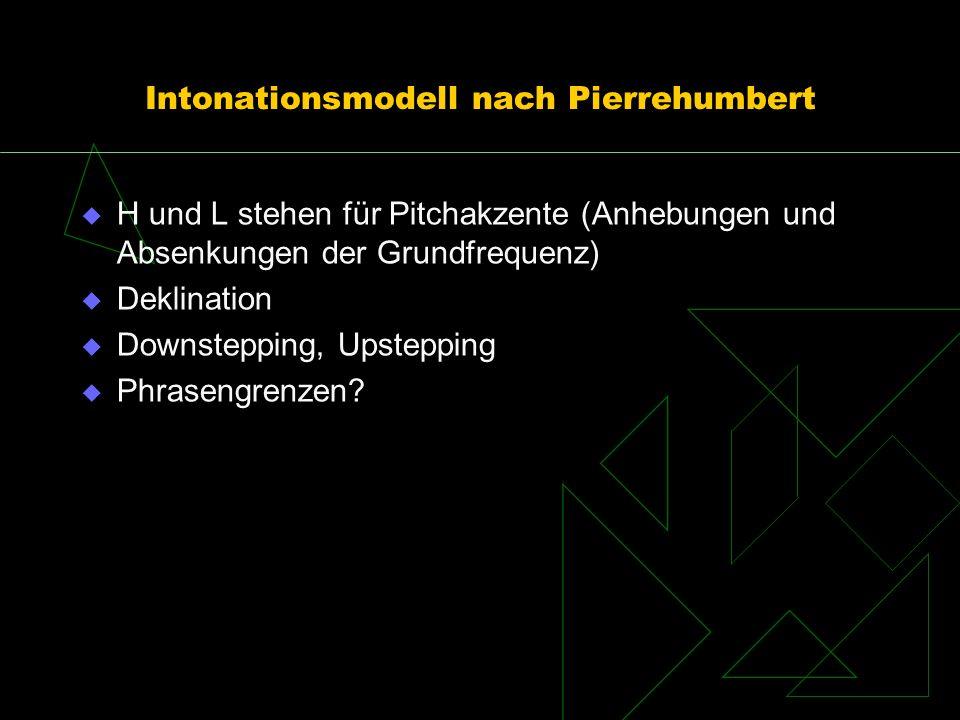 Intonationsmodell nach Pierrehumbert H und L stehen für Pitchakzente (Anhebungen und Absenkungen der Grundfrequenz) Deklination Downstepping, Upsteppi