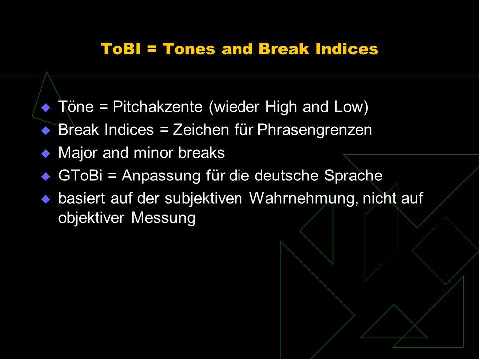 ToBI = Tones and Break Indices Töne = Pitchakzente (wieder High and Low) Break Indices = Zeichen für Phrasengrenzen Major and minor breaks GToBi = Anp