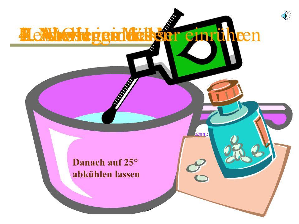 1.Abwiegen des Wassers 335 g Destilliertes Wasser124 g NaOH 2.