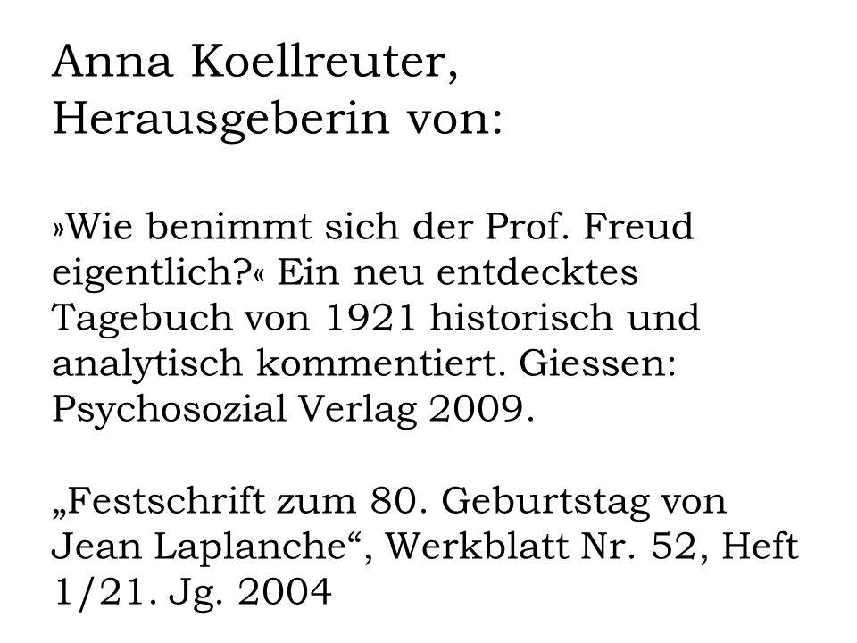Anna Koellreuter, Herausgeberin von: »Wie benimmt sich der Prof.