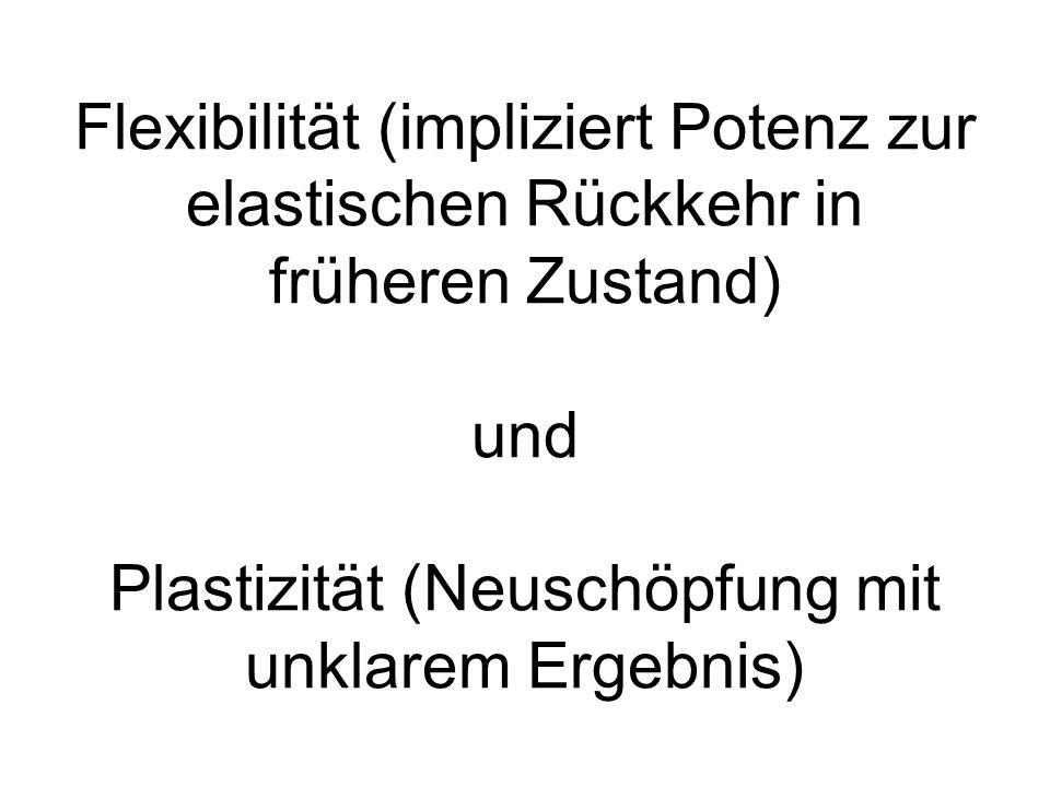 Flexibilität (impliziert Potenz zur elastischen Rückkehr in früheren Zustand) und Plastizität (Neuschöpfung mit unklarem Ergebnis)