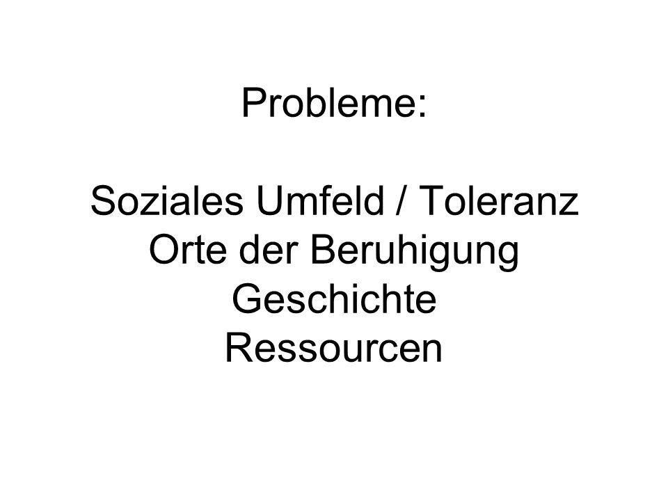 Probleme: Soziales Umfeld / Toleranz Orte der Beruhigung Geschichte Ressourcen