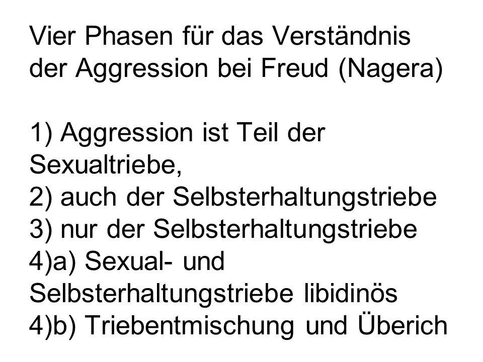 Vier Phasen für das Verständnis der Aggression bei Freud (Nagera) 1) Aggression ist Teil der Sexualtriebe, 2) auch der Selbsterhaltungstriebe 3) nur d