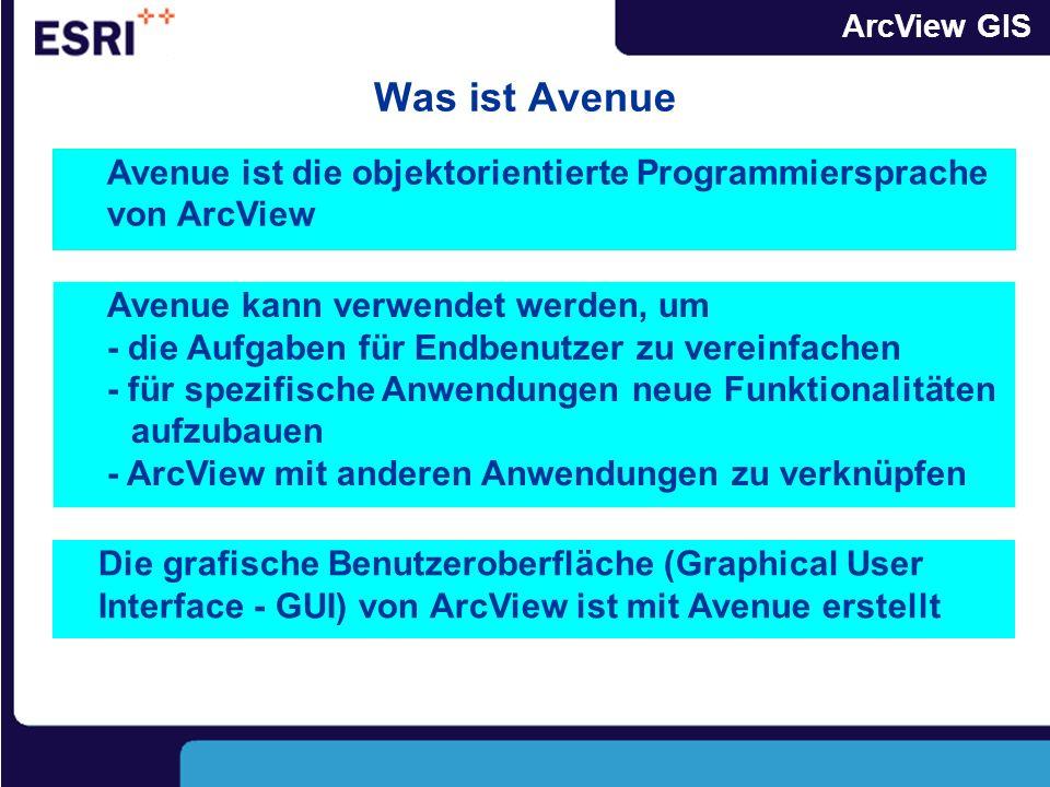 ArcView GIS Was ist Avenue Die grafische Benutzeroberfläche (Graphical User Interface - GUI) von ArcView ist mit Avenue erstellt Avenue ist die objektorientierte Programmiersprache von ArcView Avenue kann verwendet werden, um - die Aufgaben für Endbenutzer zu vereinfachen - für spezifische Anwendungen neue Funktionalitäten aufzubauen - ArcView mit anderen Anwendungen zu verknüpfen