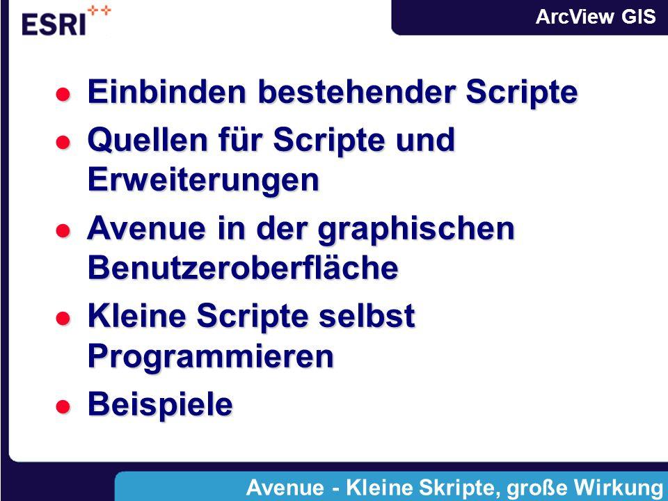 ArcView GIS Einbinden bestehender Scripte Einbinden bestehender Scripte Quellen für Scripte und Erweiterungen Quellen für Scripte und Erweiterungen Avenue in der graphischen Benutzeroberfläche Avenue in der graphischen Benutzeroberfläche Kleine Scripte selbst Programmieren Kleine Scripte selbst Programmieren Beispiele Beispiele Avenue - Kleine Skripte, große Wirkung