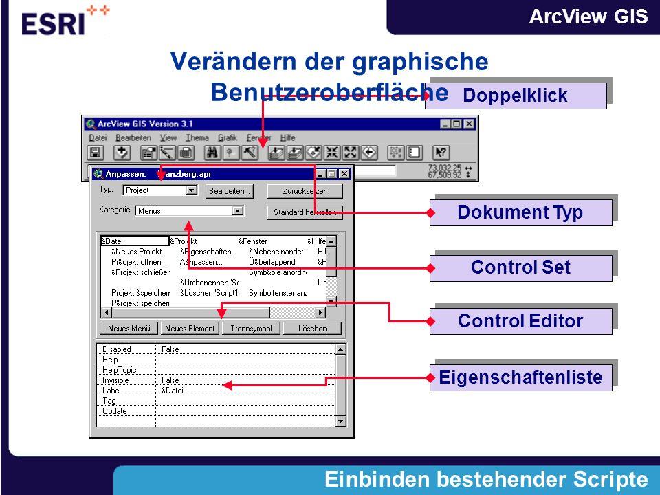 ArcView GIS Einbinden bestehender Scripte Eigenschaftenliste Control Editor Control Set Dokument Typ Doppelklick Verändern der graphische Benutzeroberfläche
