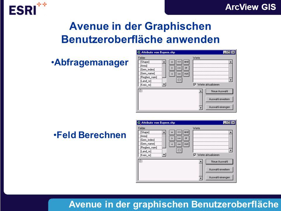 ArcView GIS Quellen für Scripte und Erweiterungen Quellen für Scripte ArcView Hilfesystem ArcView Hilfesystem Homepage WWW.ESRI.COM Homepage WWW.ESRI.
