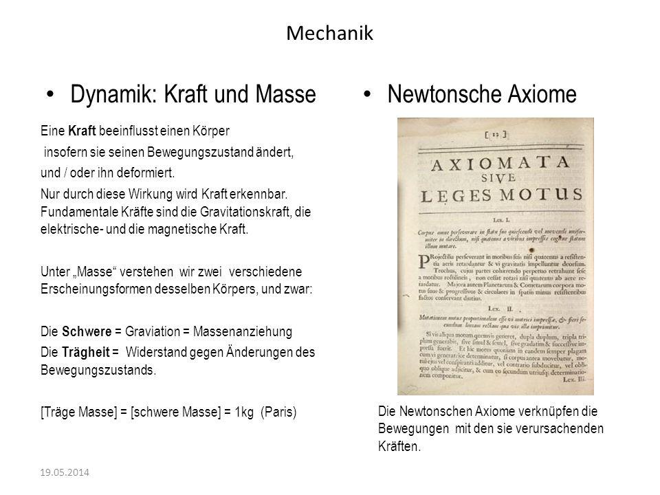 Mechanik Erstes Axiom von Sir Isaak Newton 19.05.2014 Die Ursache jeder Bewegungszustands-Änderung ist das Wirken von Kräften.