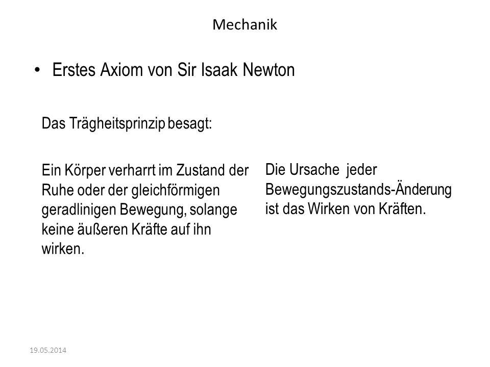 Mechanik Erstes Axiom von Sir Isaak Newton 19.05.2014 Die Ursache jeder Bewegungszustands-Änderung ist das Wirken von Kräften. Das Trägheitsprinzip be