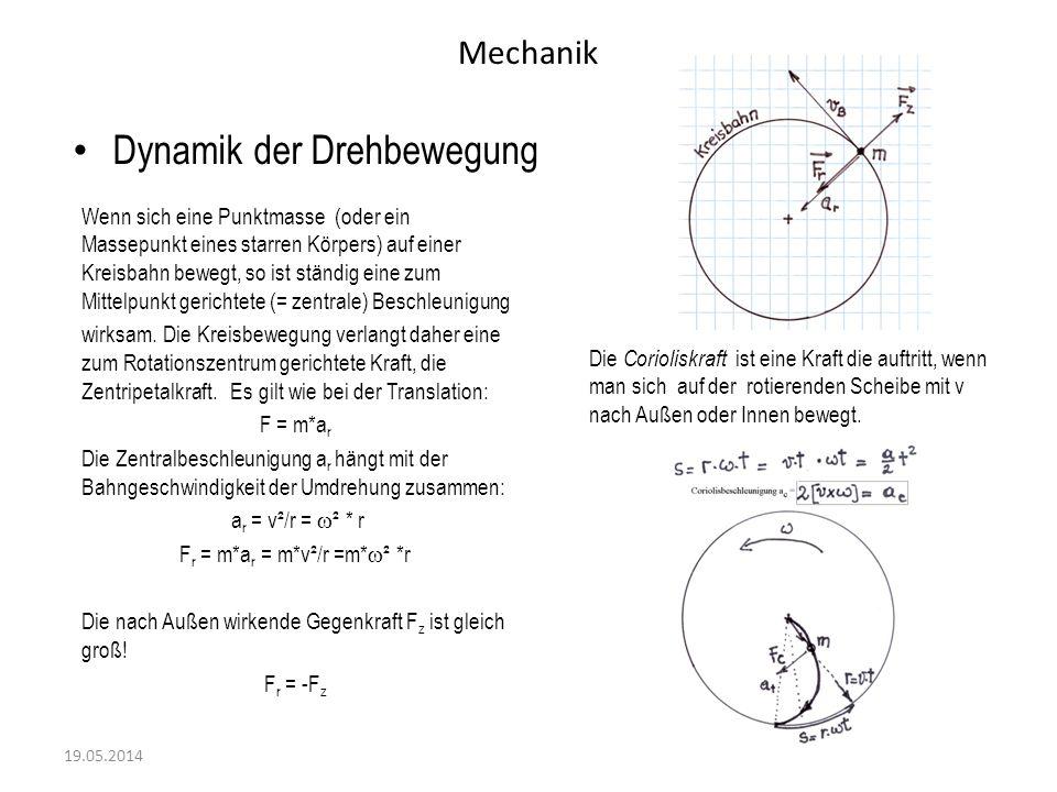 Mechanik Dynamik der Drehbewegung 19.05.2014 Die Formel: F r = m*a r (= -F z ) beschreibt die Zentralkraft bei der Rotation.