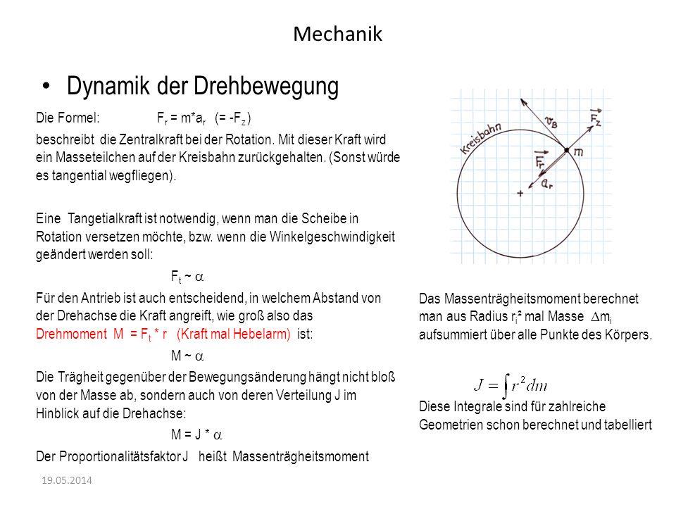 Mechanik Dynamik der Drehbewegung 19.05.2014 Die Formel: F r = m*a r (= -F z ) beschreibt die Zentralkraft bei der Rotation. Mit dieser Kraft wird ein