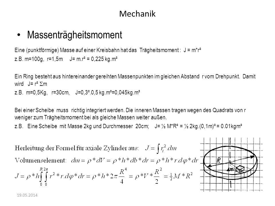 Mechanik Massenträgheitsmoment 19.05.2014 Eine (punktförmige) Masse auf einer Kreisbahn hat das Trägheitsmoment : J = m*r² z.B. m=100g, r=1,5mJ= m.r²