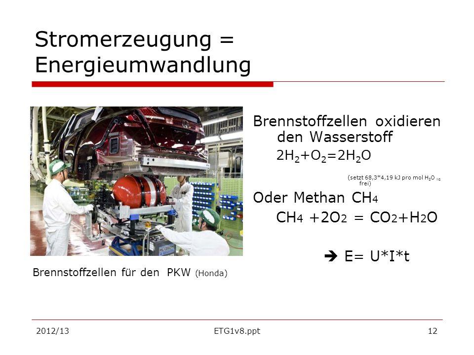 2012/13ETG1v8.ppt12 Stromerzeugung = Energieumwandlung Brennstoffzellen oxidieren den Wasserstoff 2H 2 +O 2 =2H 2 O (setzt 68,3*4,19 kJ pro mol H 2 O
