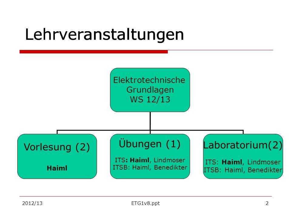 2012/13ETG1v8.ppt2 Lehrveranstaltungen Elektrotechnische Grundlagen WS 12/13 Vorlesung (2) Haiml Übungen (1) ITS: Haiml, Lindmoser ITSB: Haiml, Benedi