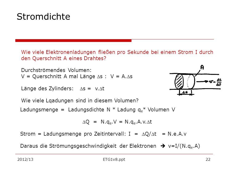 2012/13ETG1v8.ppt22 Stromdichte Ladungsmenge = Ladungsdichte N * Ladung q e * Volumen V Q = N.q e.V = N.q e.A.v.t Strom = Ladungsmenge pro Zeitinterva