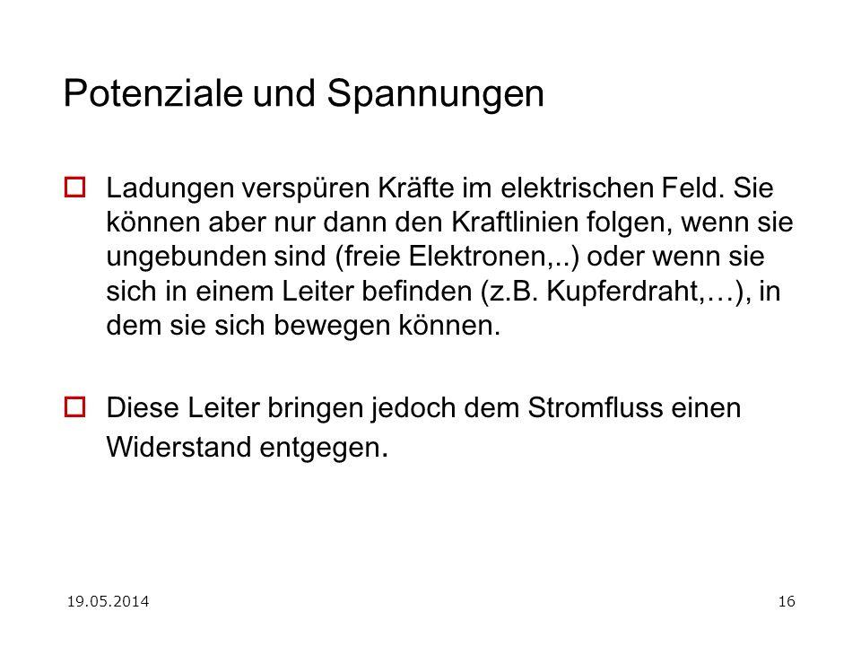 19.05.201416 Potenziale und Spannungen Ladungen verspüren Kräfte im elektrischen Feld.