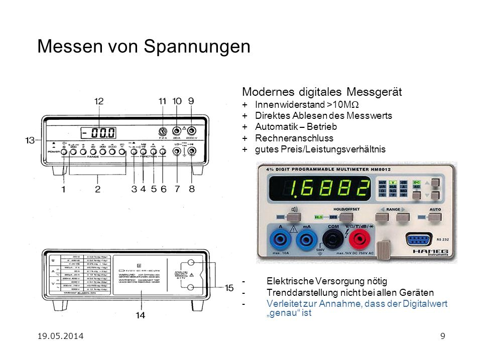 19.05.201410 Messen von Spannungen Der Minus-Pol des Multimeters wird oft auch als der Gemeinsame = Com bezeichnet.