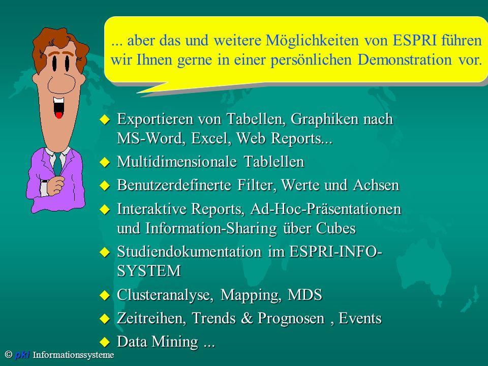 © pki Informationssysteme u Exportieren von Tabellen, Graphiken nach MS-Word, Excel, Web Reports... u Multidimensionale Tablellen u Benutzerdefinerte