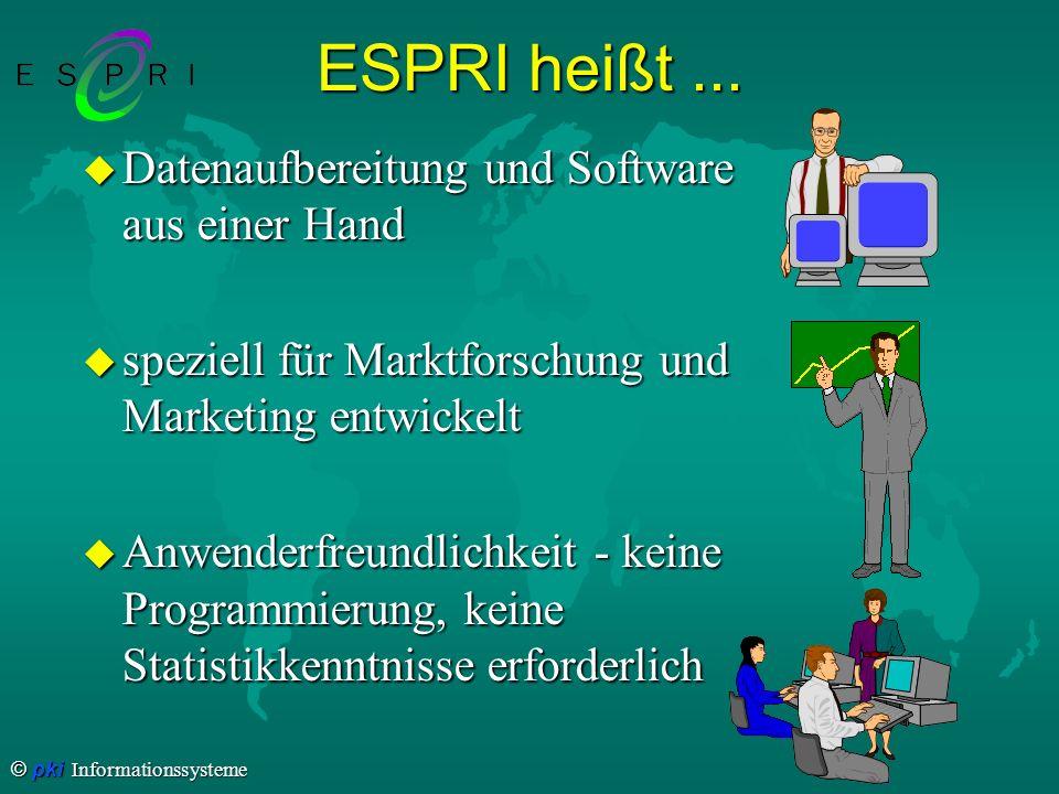 © pki Informationssysteme ESPRI heißt... u Datenaufbereitung und Software aus einer Hand u speziell für Marktforschung und Marketing entwickelt u Anwe