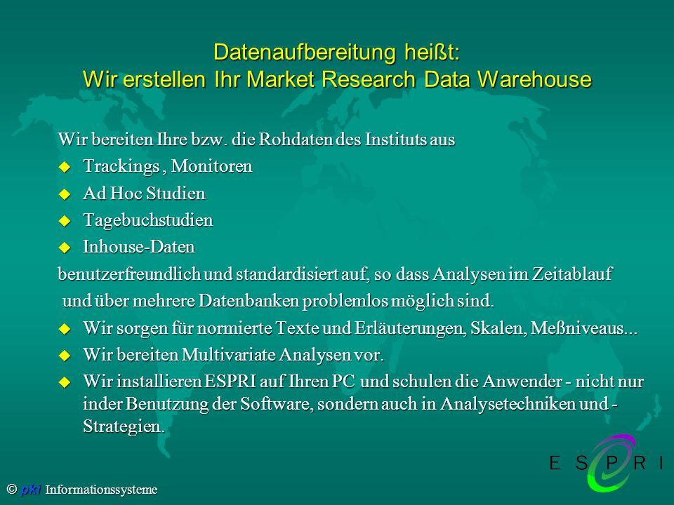 © pki Informationssysteme Datenaufbereitung heißt: Wir erstellen Ihr Market Research Data Warehouse Wir bereiten Ihre bzw. die Rohdaten des Instituts