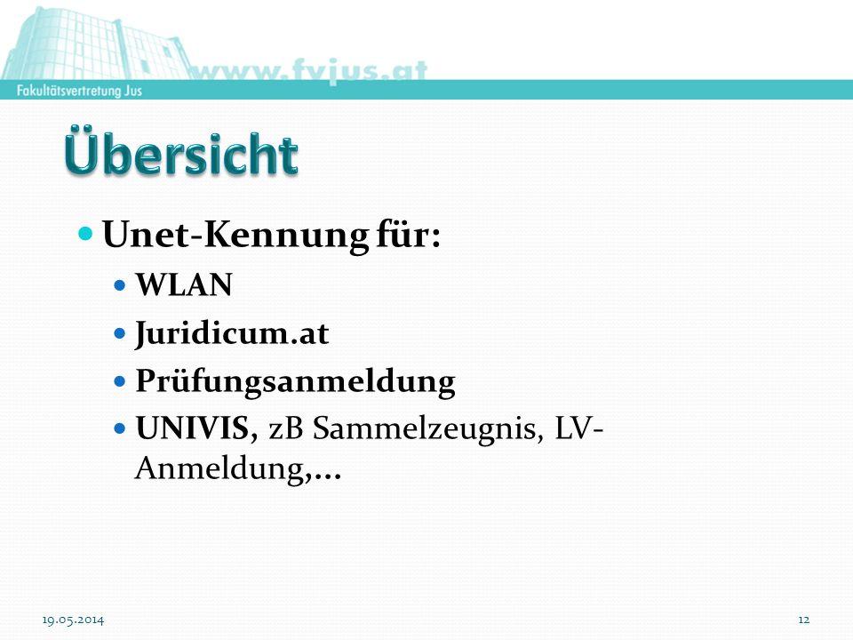Unet-Kennung für: WLAN Juridicum.at Prüfungsanmeldung UNIVIS, zB Sammelzeugnis, LV- Anmeldung,... 19.05.201412