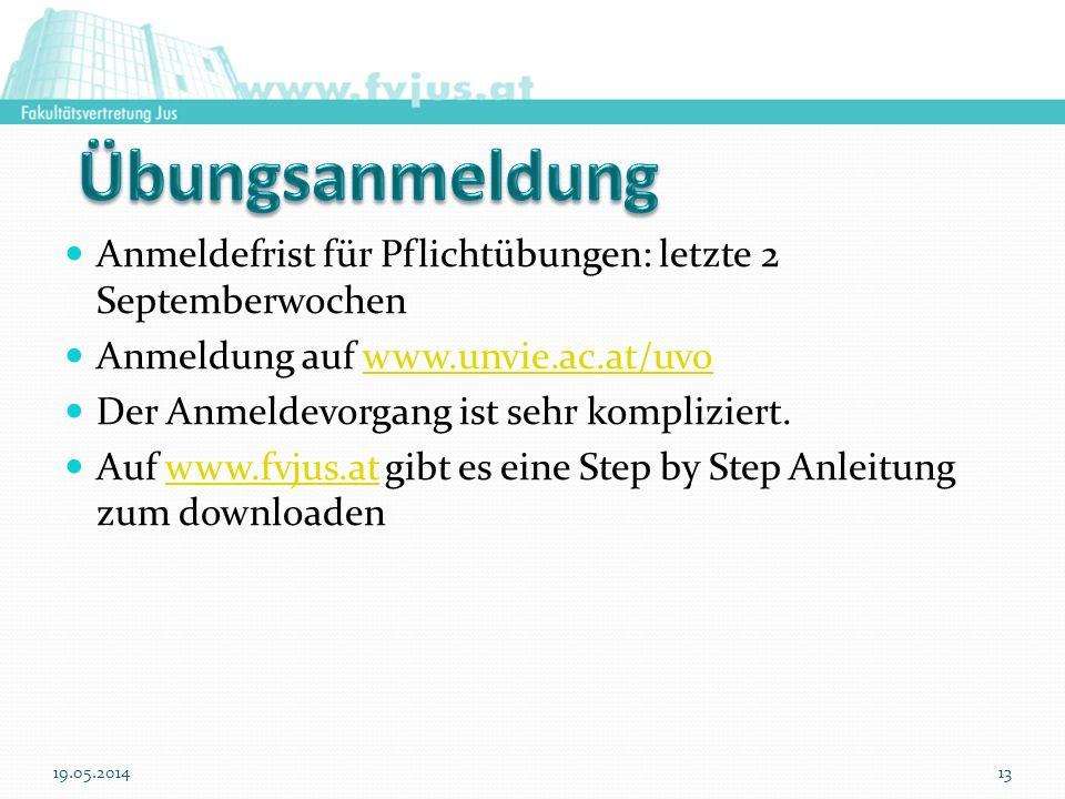 19.05.201413 Anmeldefrist für Pflichtübungen: letzte 2 Septemberwochen Anmeldung auf www.unvie.ac.at/uvowww.unvie.ac.at/uvo Der Anmeldevorgang ist seh