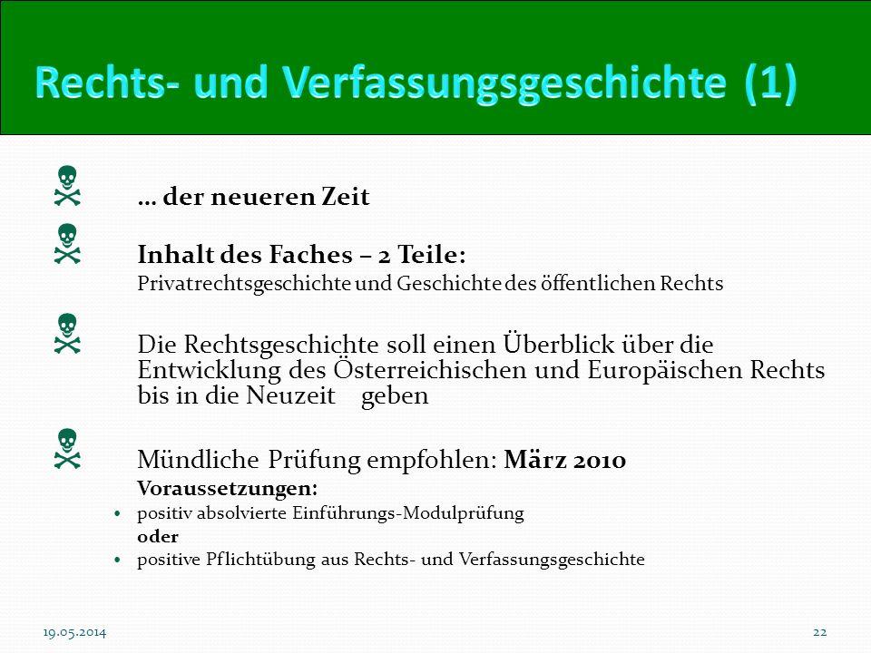 … der neueren Zeit Inhalt des Faches – 2 Teile: Privatrechtsgeschichte und Geschichte des öffentlichen Rechts Die Rechtsgeschichte soll einen Überblic