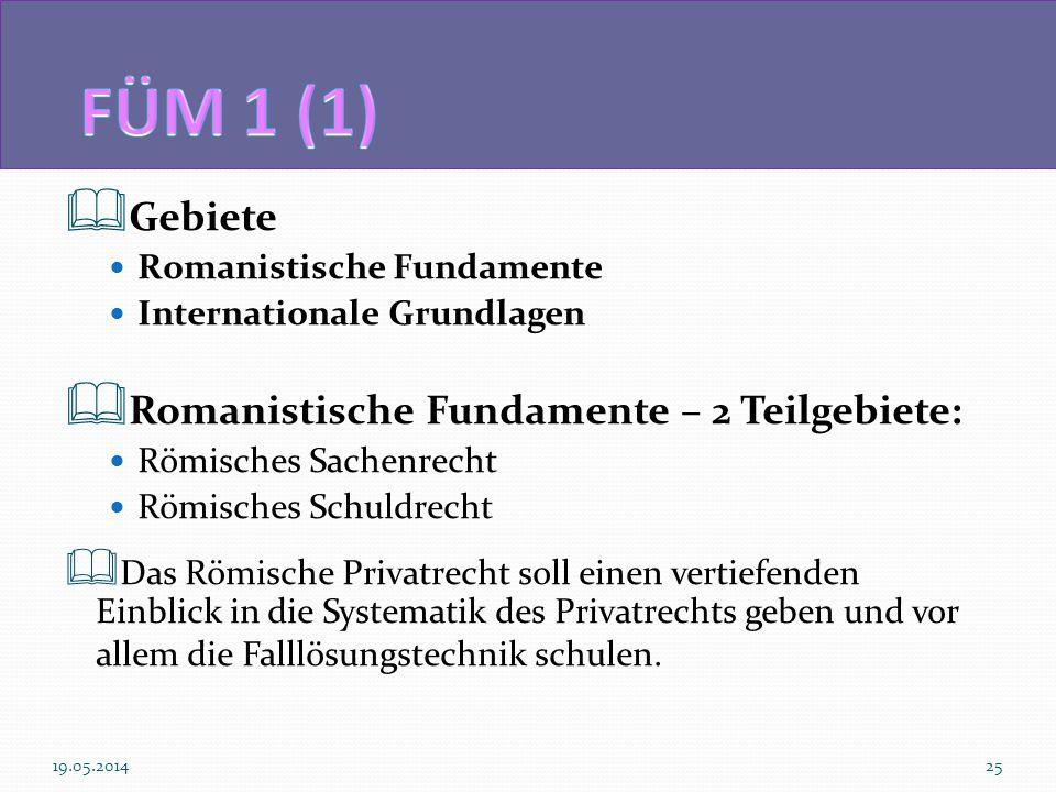 Gebiete Romanistische Fundamente Internationale Grundlagen Romanistische Fundamente – 2 Teilgebiete: Römisches Sachenrecht Römisches Schuldrecht Das R