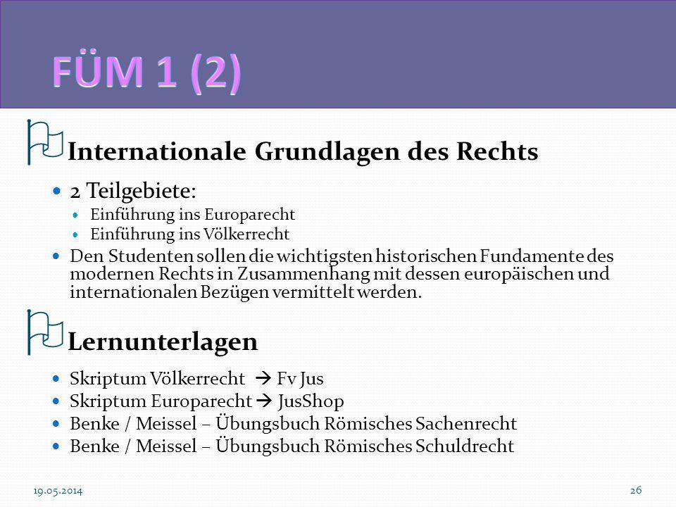 Internationale Grundlagen des Rechts 2 Teilgebiete: Einführung ins Europarecht Einführung ins Völkerrecht Den Studenten sollen die wichtigsten histori