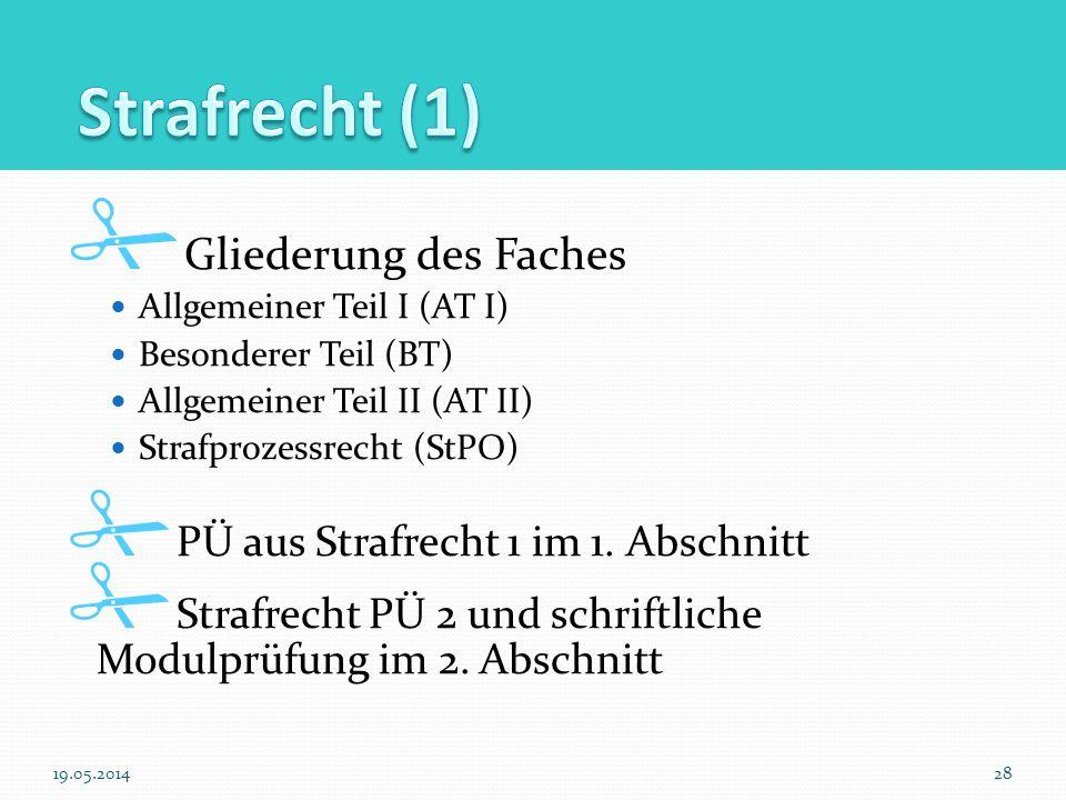 Gliederung des Faches Allgemeiner Teil I (AT I) Besonderer Teil (BT) Allgemeiner Teil II (AT II) Strafprozessrecht (StPO) PÜ aus Strafrecht 1 im 1. Ab