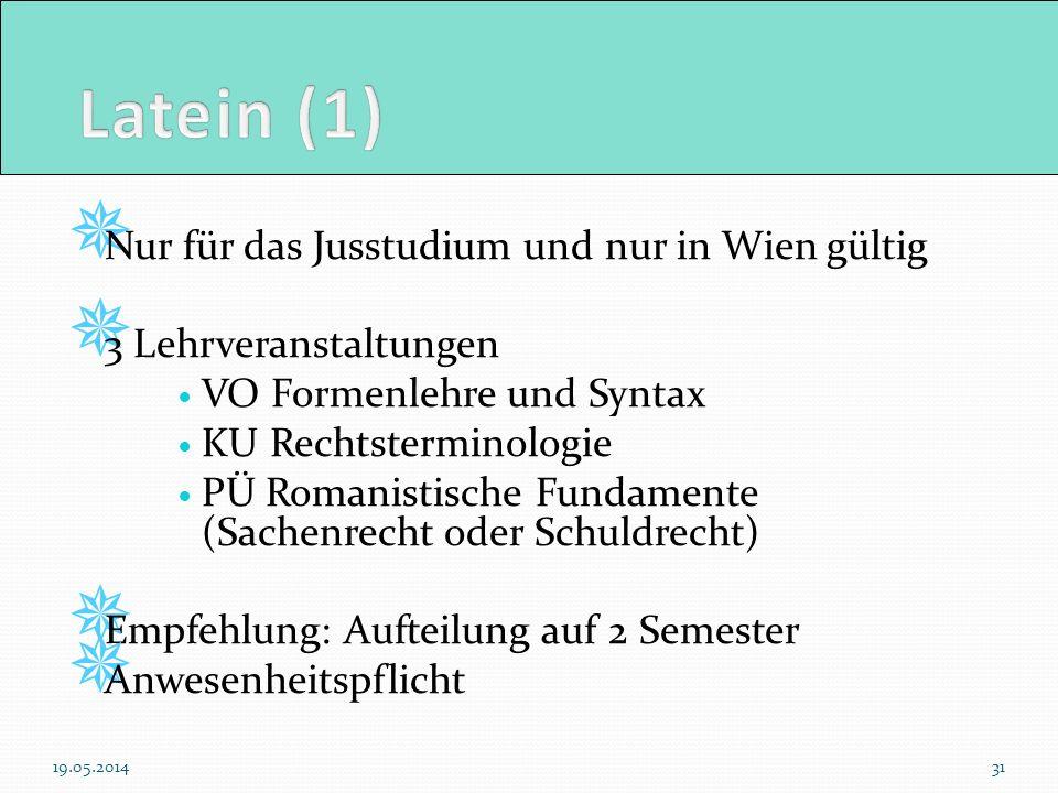Nur für das Jusstudium und nur in Wien gültig 3 Lehrveranstaltungen VO Formenlehre und Syntax KU Rechtsterminologie PÜ Romanistische Fundamente (Sache