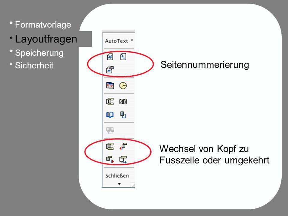 24 * Formatvorlage * Layoutfragen * Speicherung * Sicherheit Seitennummerierung Wechsel von Kopf zu Fusszeile oder umgekehrt