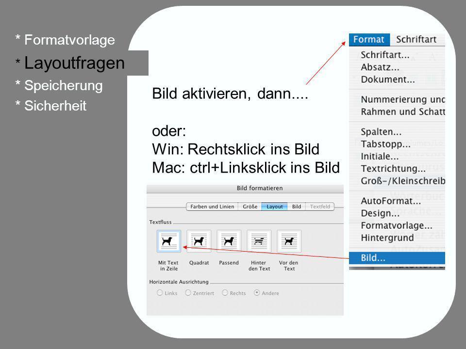 29 * Formatvorlage * Layoutfragen * Speicherung * Sicherheit Bild aktivieren, dann.... oder: Win: Rechtsklick ins Bild Mac: ctrl+Linksklick ins Bild