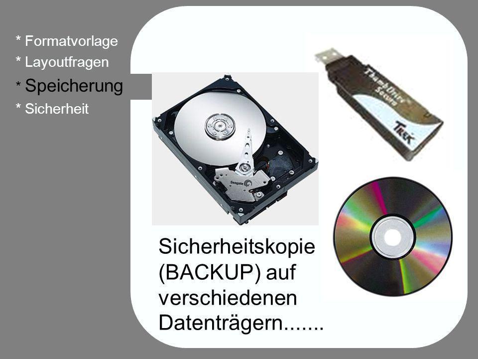 31 * Formatvorlage * Layoutfragen * Speicherung * Sicherheit Sicherheitskopie (BACKUP) auf verschiedenen Datenträgern.......