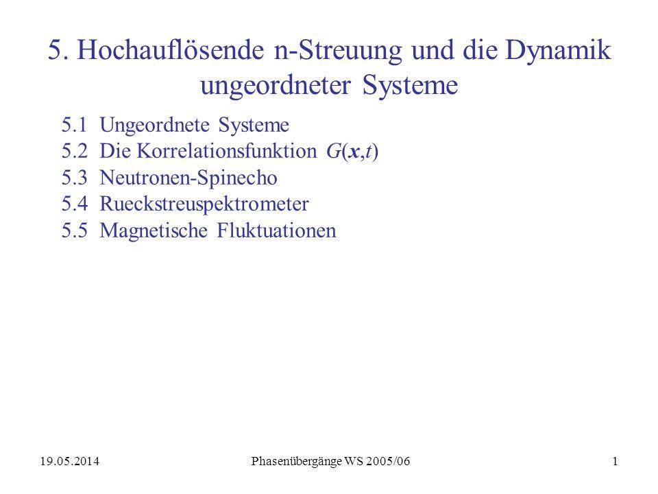 19.05.2014 Phasenübergänge WS 2005/062 5.1 Ungeordnete Systeme Beispiel: Flüssigkeit aus harten Kugeln