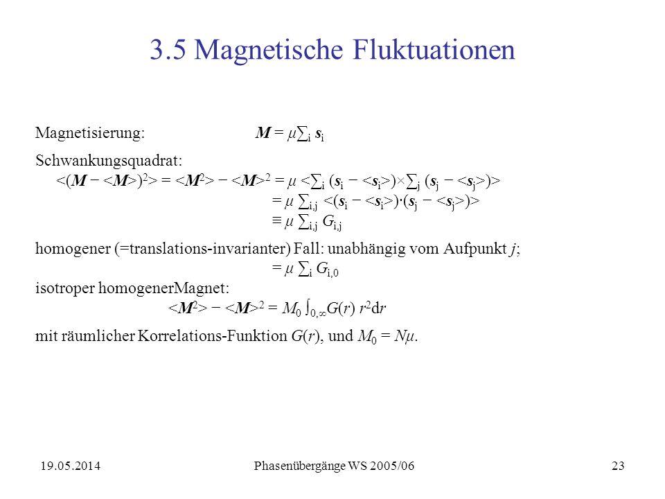 19.05.2014 Phasenübergänge WS 2005/0623 3.5 Magnetische Fluktuationen Magnetisierung: M = μ i s i Schwankungsquadrat: ) 2 > = 2 = μ )× j (s j )> = μ i,j )·(s j )> μ i,j G i,j homogener (=translations-invarianter) Fall: unabhängig vom Aufpunkt j; = μ i G i,0 isotroper homogenerMagnet: 2 = M 0 0, G(r) r 2 dr mit räumlicher Korrelations-Funktion G(r), und M 0 = Nμ.