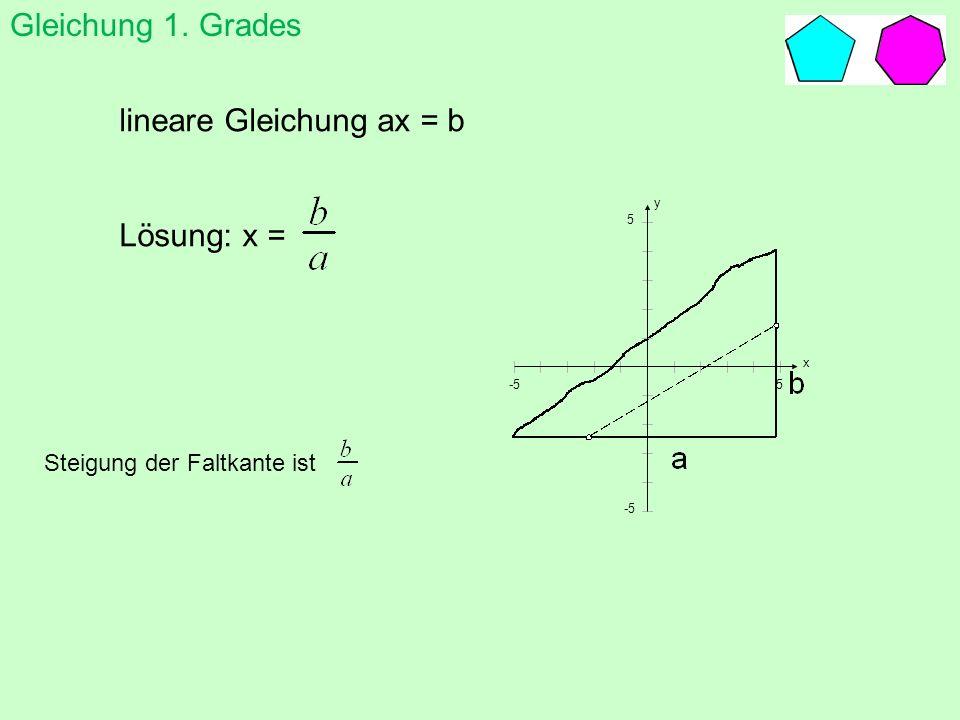Gleichung 1. Grades lineare Gleichung ax = b Lösung: x = Steigung der Faltkante ist y x 5 5 -5
