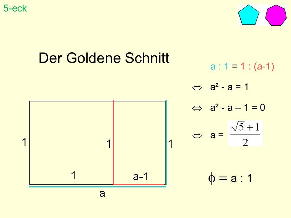 Der Goldene Schnitt a : 1 = 1 : (a-1) a² - a = 1 a² - a – 1 = 0 a = a : 1 5-eck