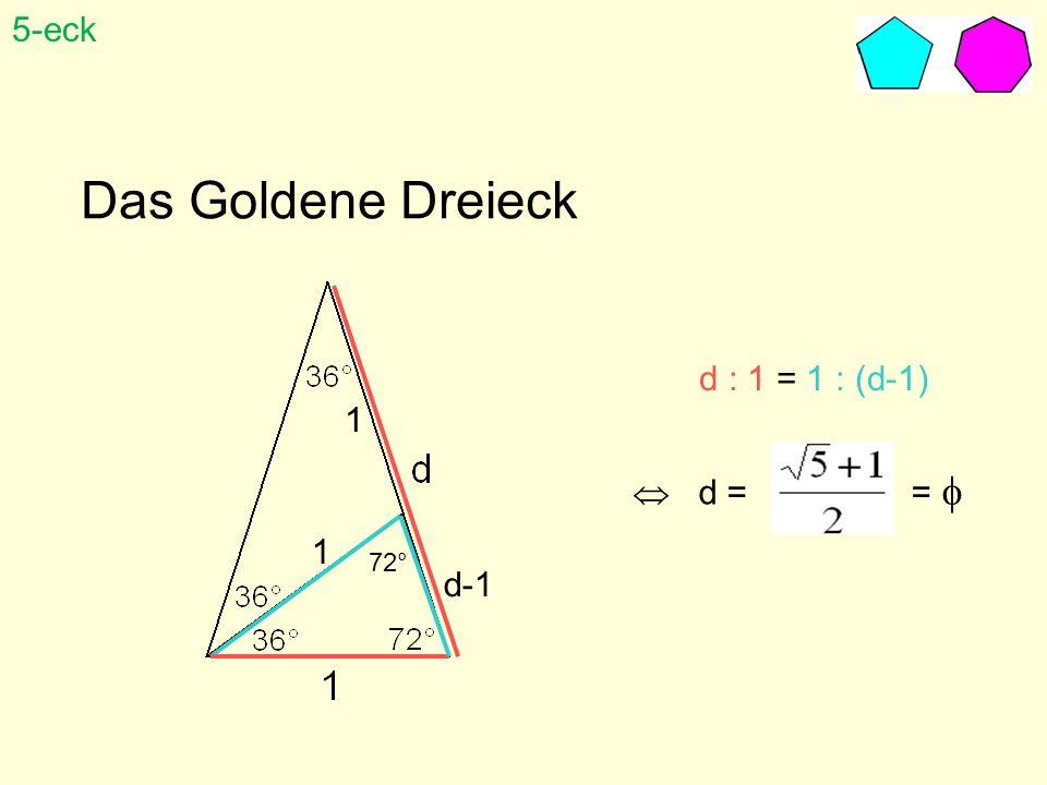 Das Goldene Dreieck d : 1 = 1 : (d-1) d = = 72° 1 1 d-1 5-eck