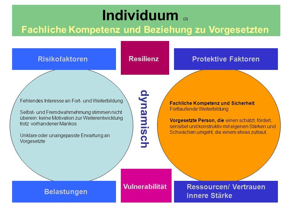 dynamisch Individuum (3) Fachliche Kompetenz und Beziehung zu Vorgesetzten Risikofaktoren Resilienz Protektive Faktoren Belastungen Ressourcen/ Vertrauen innere Stärke Vulnerabilität Fehlendes Interesse an Fort- und Weiterbildung Selbst- und Fremdwahrnehmung stimmen nicht überein: keine Motivation zur Weiterentwicklung trotz vorhandener Mankos Unklare oder unangepasste Erwartung an Vorgesetzte Fachliche Kompetenz und Sicherheit Fortlaufende Weiterbildung Vorgesetzte Person, die einen schätzt, fördert, sensibel und konstruktiv mit eigenen Stärken und Schwächen umgeht, die einem etwas zutraut.