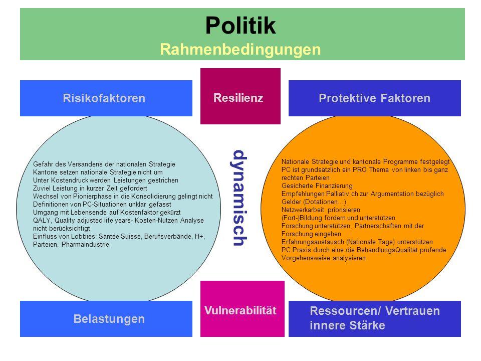 dynamisch Politik Rahmenbedingungen Risikofaktoren Resilienz Protektive Faktoren Belastungen Ressourcen/ Vertrauen innere Stärke Vulnerabilität Gefahr