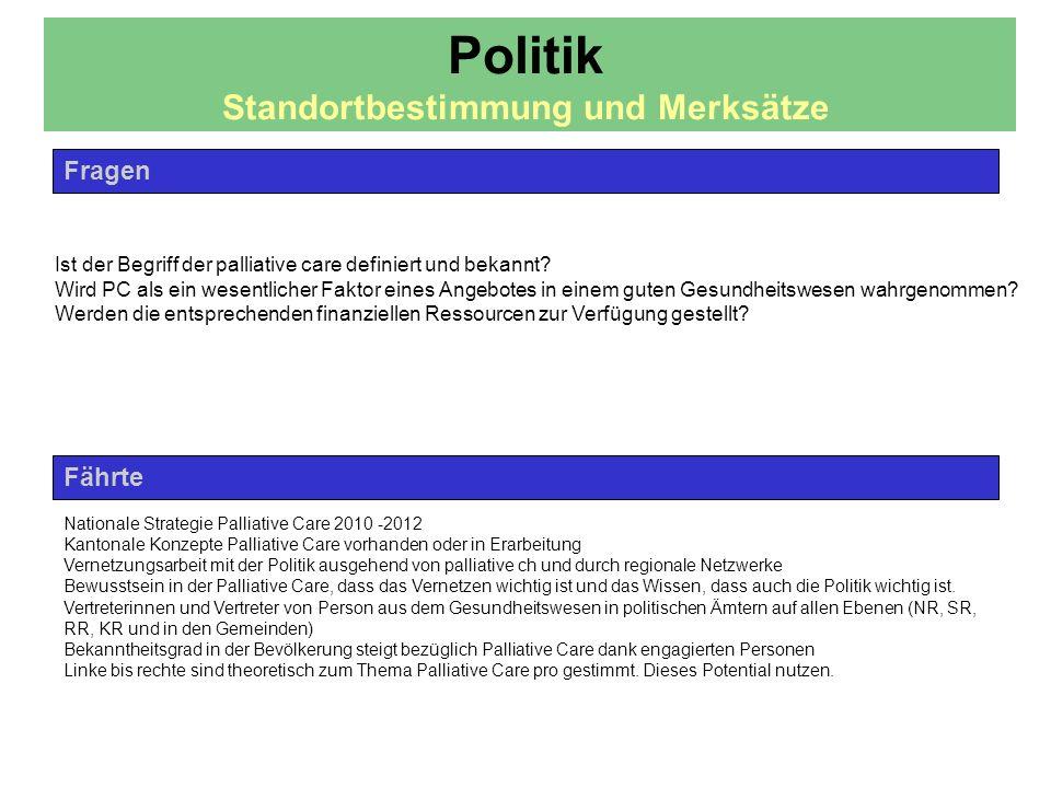 Fährte Fragen Nationale Strategie Palliative Care 2010 -2012 Kantonale Konzepte Palliative Care vorhanden oder in Erarbeitung Vernetzungsarbeit mit de