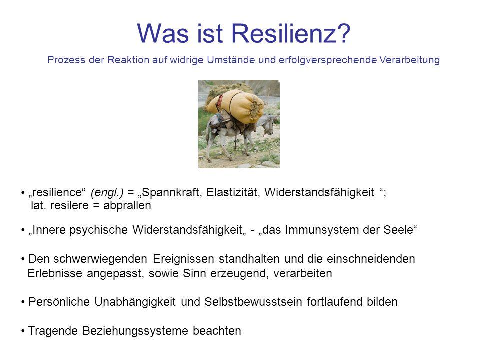 resilience (engl.) = Spannkraft, Elastizität, Widerstandsfähigkeit ; lat. resilere = abprallen Innere psychische Widerstandsfähigkeit - das Immunsyste