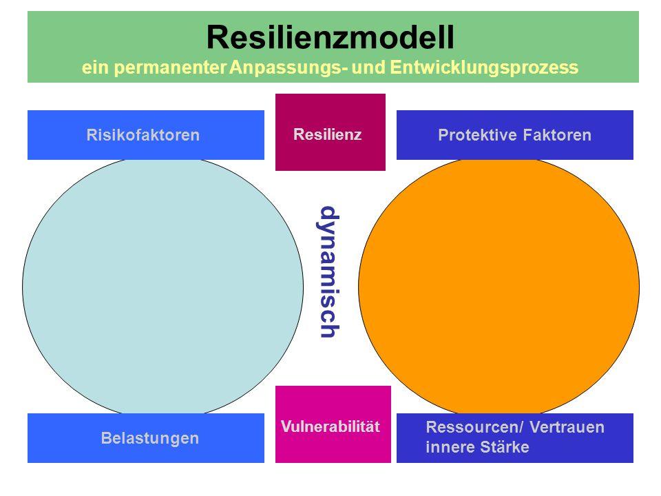 Förderung der Resilienz Dynamischer Prozess der Reaktion auf widrige Umstände und erfolgversprechende Verarbeitung Minimierung der Risikofaktoren Erhöhung der Ressourcen/ protektiven Faktoren Persönliche Förderung Aktive Anpassungsprozesse Bewusster Umgang mit Grenzen und Verlusten Tragende Beziehungssysteme Einbezug der philosophisch-existenzielle Dimensionen